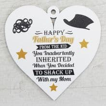 Printed 9.5cm Wood Heart cut from 3mm MDF Dad Daddy Fathers Day Gift - Stepdad